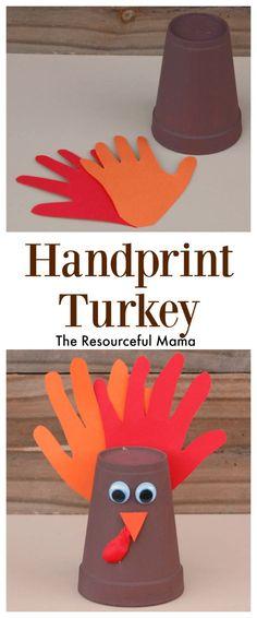 Handprint Thanksgiving Turkey Kid Craft:Simple and easy
