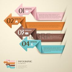 3D #origami paper #infographic elements