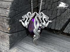 Unusual silver pendant with griffins and purple druze natural agate style Vintage (Old Style). Handmade designer Fenix Drag.