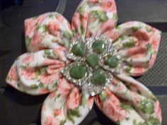 Brooch Fabric Shabby Chic Floral Cotton With Embellishments £5.00