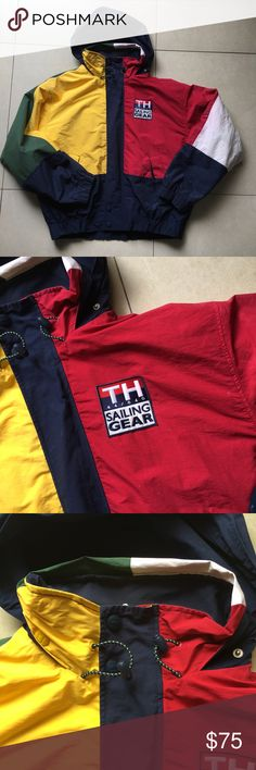 Vintage Tommy Hilfiger Men's Jacket size XL Preowned authentic Vintage Tommy Hilfiger Men's Jacket size XL. It has a hoodie that can be hidden. Some stains from use and color bleeding. Please look at pictures for better reference. Happy shopping! Tommy Hilfiger Jackets & Coats