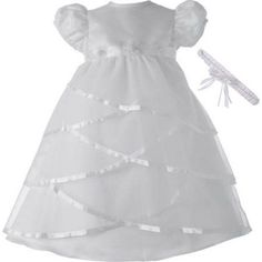 Christening Baptism Newborn Baby Girl Special Occasion Sheer Over Bridal Satin Criss Cross Design Dress Gown Outfit, Size: 6 - 9 Months, White