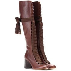 Chloé Leather Knee-High Boots (€1.390) ❤ liked on Polyvore featuring shoes, boots, chloe, brown, brown knee boots, brown boots, real leather knee high boots, brown leather boots and chloe boots