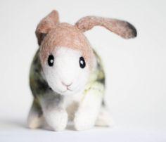Felt Bunny  Dan. Art Toy. Handmade Felted Stuffed by TwoSadDonkeys