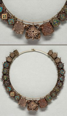 Tunisia | Necklace with multiple amulets; gilt silver and cloisonne | Islamic | 19th century, Djerba
