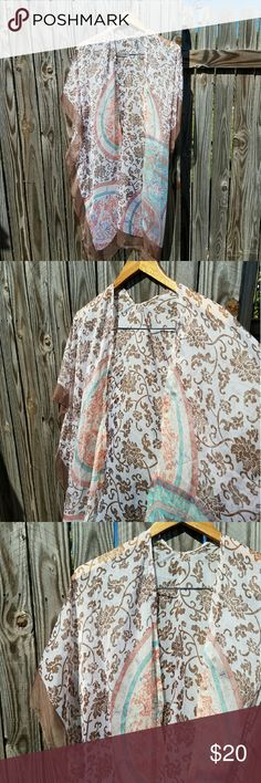 """Flowy boho kimono Never worn. Flowy polyester kimono by """"g"""". One size fits most (very flexible). Great colors that work for every season! Approx 36"""" in length. Brand is NOT FP. Listed for exposure Free People Jackets & Coats Vests"""