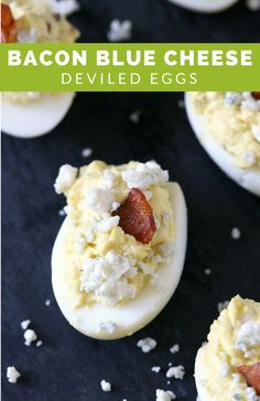 Recipe: Bacon Blue Cheese Deviled Eggs from Brandy Waterfall Waterfall Waterfall O'Neill {Nutmeg Nanny} Yummy Appetizers, Appetizers For Party, Appetizer Recipes, Egg Recipes, Cooking Recipes, Yummy Food, Tasty, Thanksgiving Appetizers, Deviled Eggs