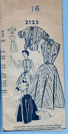 Vintage 1950's Women's Dress and Jacket Pattern, Mail Order 2125 Sewing Pattern, Size 16