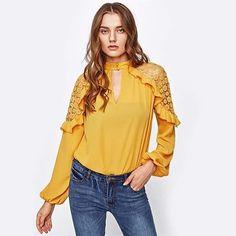 Keyhole Front Frill Trim Crochet Shoulder Blouse Free Shipping World Wide  #dress #tops #blouse #jumpsuit #dresses #casual #halter #haltertop #diva #fashionicon #printed #clubwear #halterdress #sexy #fashion #trend #london #paris #newyork #toronto #berlin #dubai #zurich #milan #stockholm #hamburg #sarskalondon #sarska