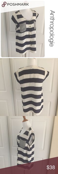 Anthropologie Odille silk navy striped blouse sz10 ♦️Excellent condition. No holes, stains or piling.                                             ♦️Materials- 100% silk ♦️Measurements:                               ♦️Laying flat armpit to armpit: approximately 18 inches                       ♦️Laying flat from the back of the neck to the bottom of the front hem is approximately 27inches Anthropologie Tops Blouses
