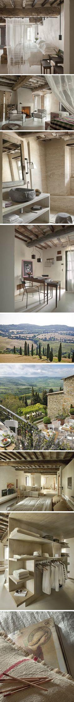 Hôtel de charme dans les collines toscanes La réhabilitation de trois vieux bâtiments délabrés, dans un tout petit village reculé de Toscane, a donné naiss