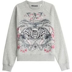 Alexander McQueen Logo Embroidered Sweatshirt (53685 RSD) ❤ liked on Polyvore featuring tops, hoodies, sweatshirts, grey, print sweatshirt, cotton sweatshirts, grey top, alexander mcqueen and raglan sweatshirt