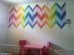 DIY paint swatch chevron wall... looks like I'm gonna have to start getting some paint swatches lol