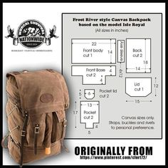 Excellent bushcraft know-hows that all survival lovers will want to learn now. This is most important for preppers survival and will save your life. Bushcraft Backpack, Bushcraft Gear, Diy Backpack, Backpack Tutorial, Leather Pattern, Leather Backpack Pattern, Leather Projects, Leather Tooling, Leather Craft