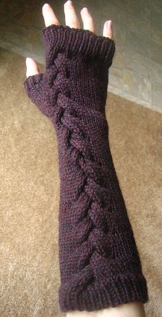 Braided cable fingerless mitts. I even have this exact yarn from Knit Picks…