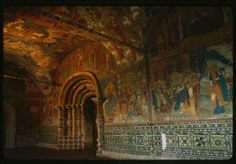 Church of Elijah the Prophet interior, north gallery, view east, with frescoes and ceramic ornament Yaroslavl', Russia Fresco, Russia, Fantasy, Ceramics, Ornaments, Gallery, Interior, Painting, Image