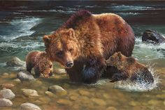 Bonnie Marris - Testing the Waters - grizzly bear and cubs painting