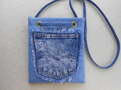 Crossbody bag or shoulder bag from upcycled denim jeans - handmade small pocketbook, messenger, purse, recycle