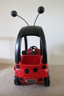 """Roper Round-Up: Ladybug """"Bug-Mobile"""" Cozy Coupe Makeover Craft Projects For Kids, Diy Projects To Try, Little Tykes Car, Cozy Coupe Makeover, 1st Birthday Gifts, 2nd Birthday, Kids Play Equipment, American Girl Accessories, Ladybug Party"""