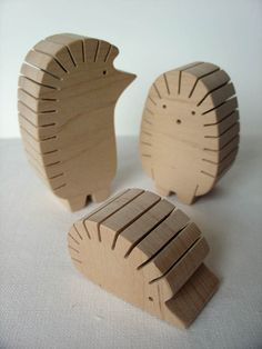Gift ideas - Wooden set  - Photo, business cards, paper slips, recipe card holders - Hedgehog family.  via Etsy.