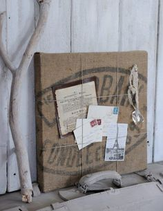 Burlap and twine board! love this!