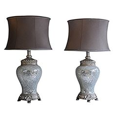 Pair of Large Table Lamps 79cm Height Silver and Sparkle Mosaic Base with High Quality Taupe Shade