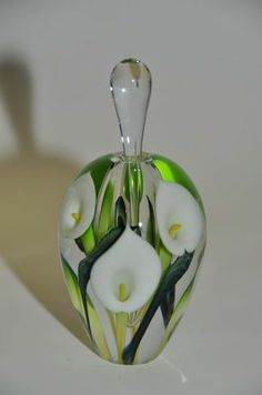White Calla Lily Double Layer Perfume bottle by Lotton Studios. American Made. See the designer's work at the 2015 American Made Show, Washington DC. January 16-19, 2015. americanmadeshow.com #perfumebottle, #callalily, #flowers, #glass, #americanmade