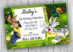 Bugs Bunny Party Invitation Printable by PartyPrintableInvite