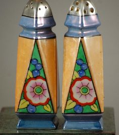 The Vintage Village - View Classified - Vintage 1930s Lusterware Art Deco Hand Painted Salt And Pepper