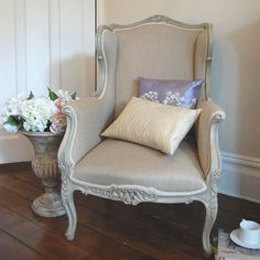 Colonial carved wing chair
