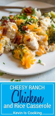 This one pan Ranch Chicken and Rice Casserole couldnt be easier to make. Chopped chicken gets marinated in Ranch dressing and added to rice vegetables and chicken broth to bake topped with two cheeses and crispy bacon. via Kevin Is Cooking Chicken Broccoli Rice Casserole, Ranch Chicken Casserole, Chicken Bacon Ranch Casserole, Chicken Rice Casserole, Vegetable Casserole, Casserole Recipes, Baked Vegetables, Chicken And Vegetables, Baked Chicken