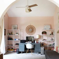 5 of the best pink paint colors from Sherwin Williams (office painted SW Romance) Peach Paint Colors, Office Paint Colors, Bathroom Paint Colors, Navy Bathroom, Rustic Home Interiors, Trendy Home, Of Wallpaper, Decoration, Diy Home Decor