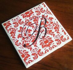 Custom Printable PDF of Damask Paper with Monogram plus Instructions for DIY Tile Coasters craft - make your own Christmas gifts
