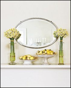 White daffodils and variations of white eggs in simple pedestal bowls is a wonderful fresh take on Spring decor.