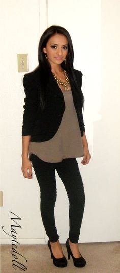 Love the brown & black w/ heels - such a great outfit!
