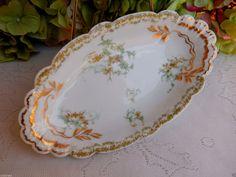 Beautiful Antique Haviland Limoges Porcelain Bowl ~ Dish ~ Floral ~ Gold Gilt #HavilandLimoges