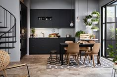 【Gros plan sur 】La cuisine eco friendly by Ikea : La Kungsbacka Ikea Dining Table, Dining Table Height, Open Plan Kitchen, New Kitchen, Ikea Kitchen Catalogue, Bjursta Table, Dining Room Design, Kitchen Design, Küchen In U Form
