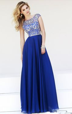 2016 long prom dress, royal blue prom dresses, beaded cap sleeves prom dress