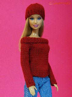 Barbie in red knitted sweater and hat by Hegemony77 doll clothes