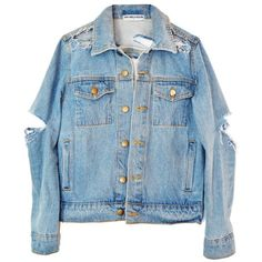 SO RIPPED DENIM JACKET ($125) ❤ liked on Polyvore featuring outerwear, jackets, jean jacket, blue jean jacket, distressed jacket, denim jacket and blue jackets