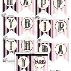 Paris Birthday Banner- Digital File