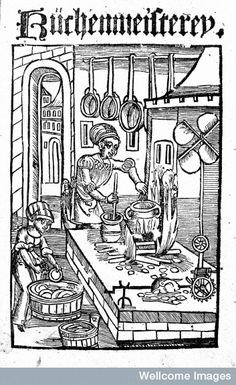 Woodcut showing kitchen scene from German Cookbook - 'Kuchenmeistery', 1485