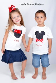 Cute Mickey and Minnie shirts for twins!  Personalized Brother/Sister  Mickey & Minnie Mouse Sequin Applique T-shirt or Onesie Set/ Twins  Clothing Set sz NB-5t-birthday. $45.00, via Etsy.