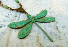 Patina Dragonfly necklace Bohemian Jewelry by Gypsymoondesigns, $35.00