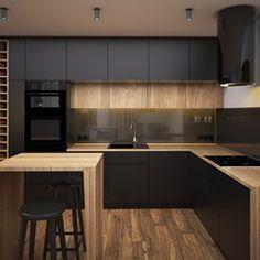 Dark kitchen, wood materials, units to the ceiling Kitchen Modular, Loft Kitchen, Kitchen Room Design, Kitchen Cabinet Design, Modern Kitchen Design, Home Decor Kitchen, Interior Design Kitchen, Kitchen Living, Kitchen Furniture