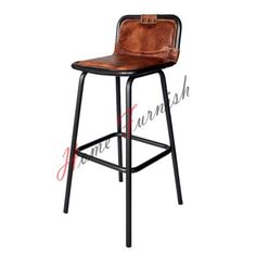 $160 Vintage-Style-Industrial-Bar-Counter-Stool-Leather-Seat-Restaurant-Bar-Stools