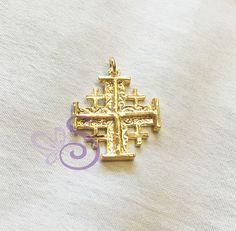 Yellow Gold GP 925 Sterling Jerusalem Cross Pendant 3D Israel Holyland 23mm New #Pendant