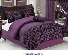 7Pcs Queen Purple and Black Floral Flocked Comforter Set