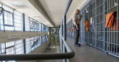 Prison guard at cell