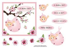 "Baby Girl Blossom Branch Card Topper on Craftsuprint designed by Janet Roberts - This baby girl topper will fit the front of a 6""x 6"" Card blankChoice of sentiments'New Baby''Special Delivery''A Baby Girl''It's a Girl' - Now available for download!"